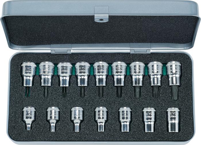 "40-50 Combined Sets of Sockets and Screwdriver Sockets, 16 pcs., 3/8"""