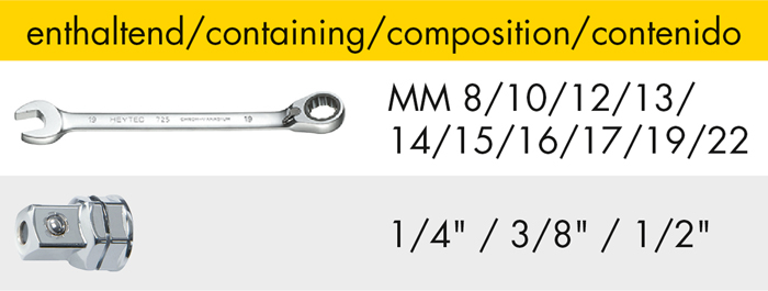 M 50829-2 Set of combined ratchet wrenches, reversible, 13 pcs.
