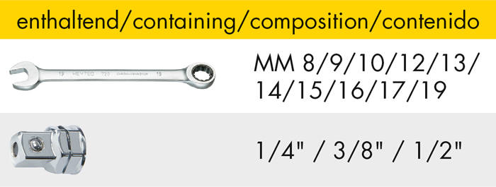 M 50829-9 Set of combined ratchet wrenches, 13 pcs.