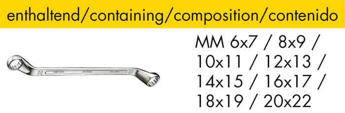 M 50829-16 Double ended ring wrench set, 8 pcs.