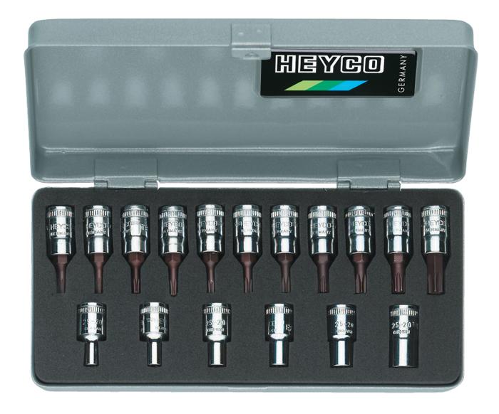 "25-50 Combined Set of Sockets and Screwdriver Sockets, 17 pcs., 1/4"""